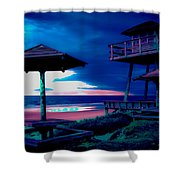 Blacklight Tower Shower Curtain