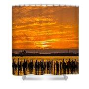 Blazing Humboldt Bay Sunset Shower Curtain