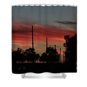 Blazing Red Country Road Sunset Shower Curtain