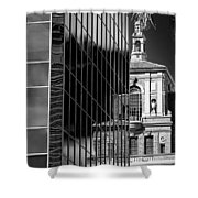 Blending Architecture Black And White Shower Curtain