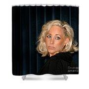Blond Woman Sad Shower Curtain