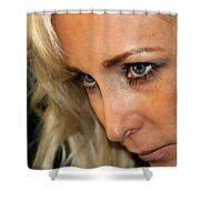Blond Woman Strict Shower Curtain