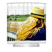 Blonde At Racetrack Shower Curtain