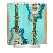 Blue Abstract Guitars Shower Curtain