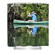 Blue Amongst The Greens - Canoeing On The St. Marks Shower Curtain