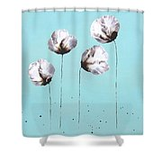 Blue And Brown Flower Painting Felicity Shower Curtain