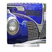 Blue And Chrome Nose Shower Curtain