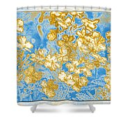 Blue And Gold Floral Abstract Shower Curtain