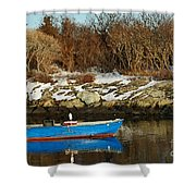 Blue And Red Boat Shower Curtain