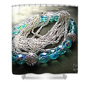 Blue And Silver Bead Bracelet Shower Curtain