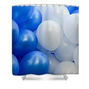 Blue And White Balloons  Shower Curtain