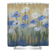 Blue And White Flora Shower Curtain