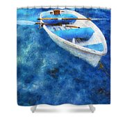 Blue And White. Lonely Boat. Impressionism Shower Curtain