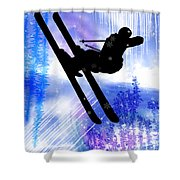 Blue And White Splashes With Ski Jump Shower Curtain