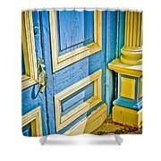 Blue And Yellow Door Shower Curtain