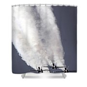 Blue Angels Fa-18c Hornet Aerial Shower Curtain by Stocktrek Images