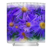 Blue Asters - Watercolor Shower Curtain