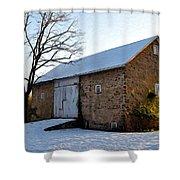 Blue Bell Barn Shower Curtain
