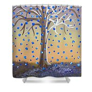 Blue-blossomed Wishing Tree Shower Curtain