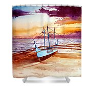 Blue Boat On The Shore Shower Curtain