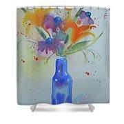 Blue Bottle Bouquet Shower Curtain