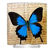 Blue Butterfly On Old Letter Shower Curtain