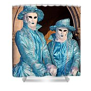 Blue Cane Duo Shower Curtain