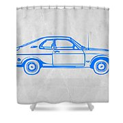 Blue Car Shower Curtain by Naxart Studio