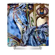 Blue Carousel Merry Go Round Horses Shower Curtain
