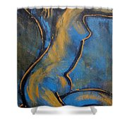 Blue Caryatid - Nudes Gallery Shower Curtain