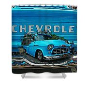 Blue Chevy Pickup Dbl. Exposure Shower Curtain
