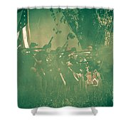 Blue Coats Fire Shower Curtain