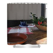 Blue Cup At Christmas  Shower Curtain