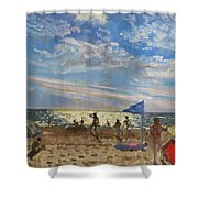 Blue Flag And Red Sun Shade Shower Curtain