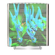 Blue Flower Abstract Shower Curtain
