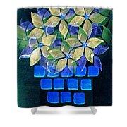 Blue Flower Pot Shower Curtain