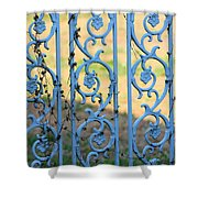 Blue Gate Swirls Shower Curtain