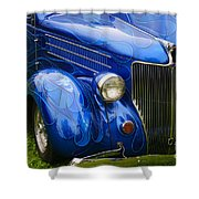 Blue Ghost Flames Shower Curtain