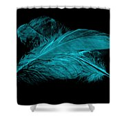 Blue Ghost On Black Shower Curtain