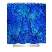 Blue Glass - Abstract Art Shower Curtain by Carol Groenen