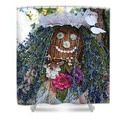 Blue Hair Bride Shower Curtain