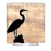 Blue Heron Silhouette Shower Curtain