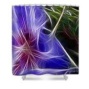 Blue Hibiscus Fractal Panel 1 Shower Curtain by Peter Piatt