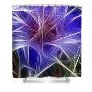 Blue Hibiscus Fractal Panel 2 Shower Curtain by Peter Piatt