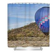 Blue Hot Air Balloon On The Desert  Shower Curtain