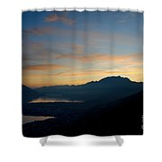 Blue Hour Over The Mountain Shower Curtain