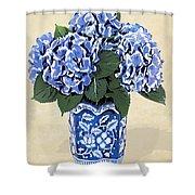 Blue Hydrangeas In A Pot On Parchment Paper Shower Curtain