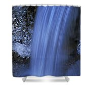 Blue Icy Waterfall Shower Curtain
