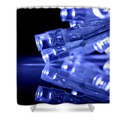 Blue Led Lights Closeup With Reflection Shower Curtain