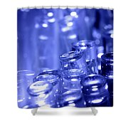 Blue Led Lights Pointing Upwards Shower Curtain